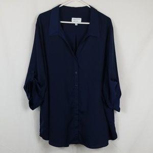 Prescott New York Womens Navy Blue Dress Shirt 5X